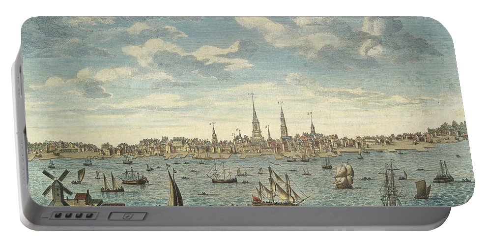An East Prospective View Of The City Of Philadelphia Portable Battery Charger featuring the painting An East Prospective View Of The City Of Philadelphia by George Heap