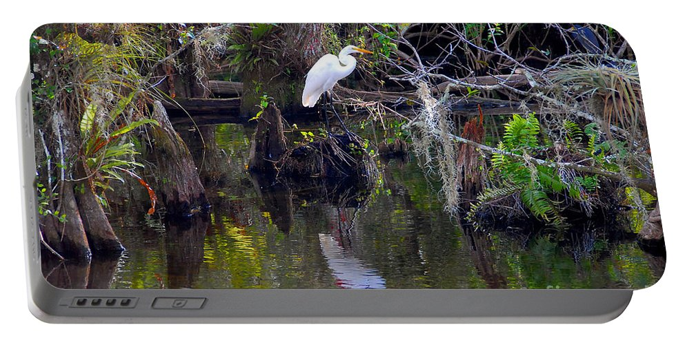Everglades National Park Florida Portable Battery Charger featuring the photograph An Egrets World by David Lee Thompson