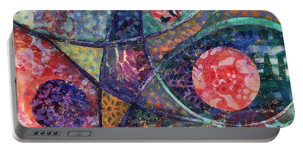 Star Portable Battery Charger featuring the mixed media An Evening Of Dance by Edie Cohn