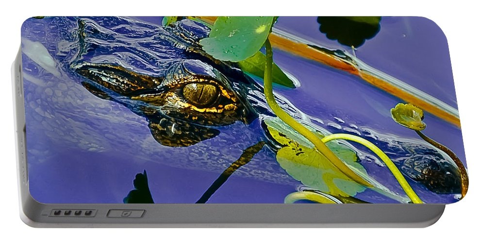 Alligator Portable Battery Charger featuring the digital art An Eye For The Camera by DigiArt Diaries by Vicky B Fuller