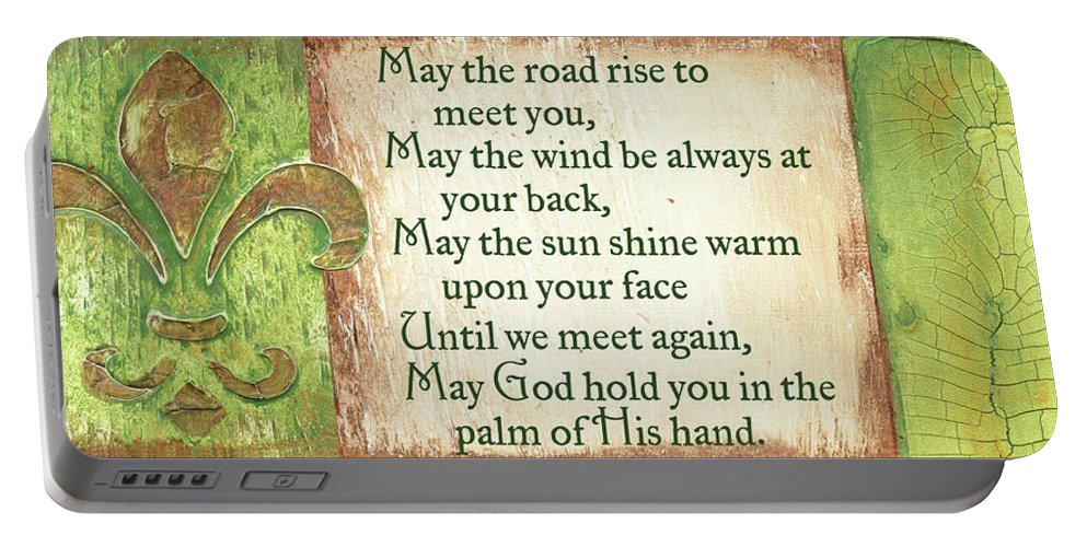 Irish Portable Battery Charger featuring the painting An Irish Blessing by Debbie DeWitt