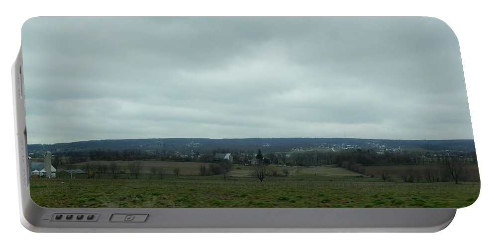 Amish Portable Battery Charger featuring the photograph An Outlook Over Amish Farmland by Christine Clark
