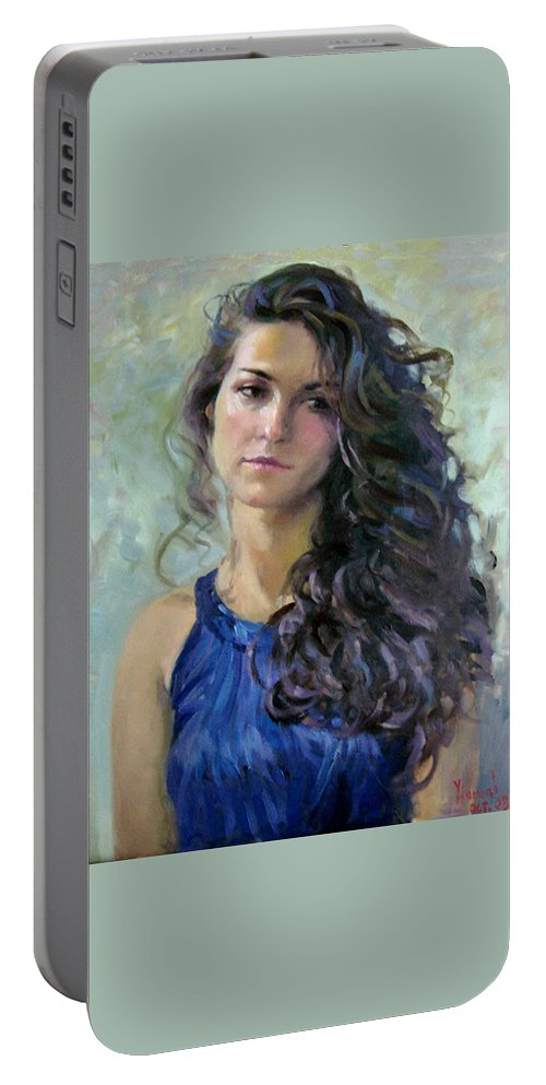 Portrait Portable Battery Charger featuring the painting Ana by Ylli Haruni