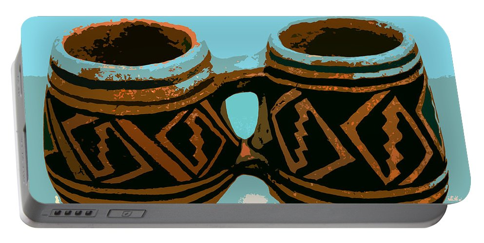 Anasazi Portable Battery Charger featuring the painting Anasazi Double Mug by David Lee Thompson