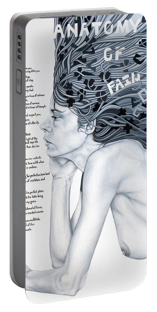 Poetry Portable Battery Charger featuring the painting Anatomy Of Pain by Judy Henninger