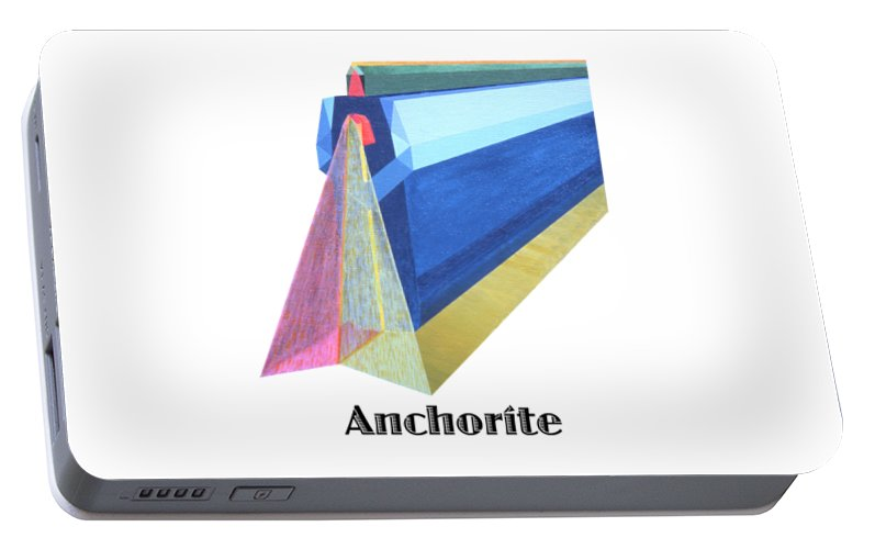 Painting Portable Battery Charger featuring the painting Anchorite -text by Michael Bellon
