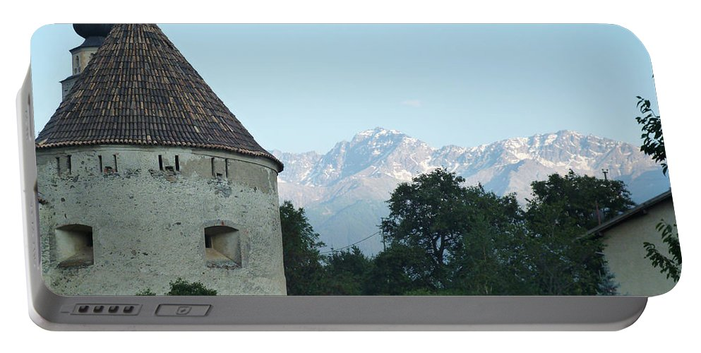 Mountains Portable Battery Charger featuring the photograph Ancient Building And Mountains by Laura Greco