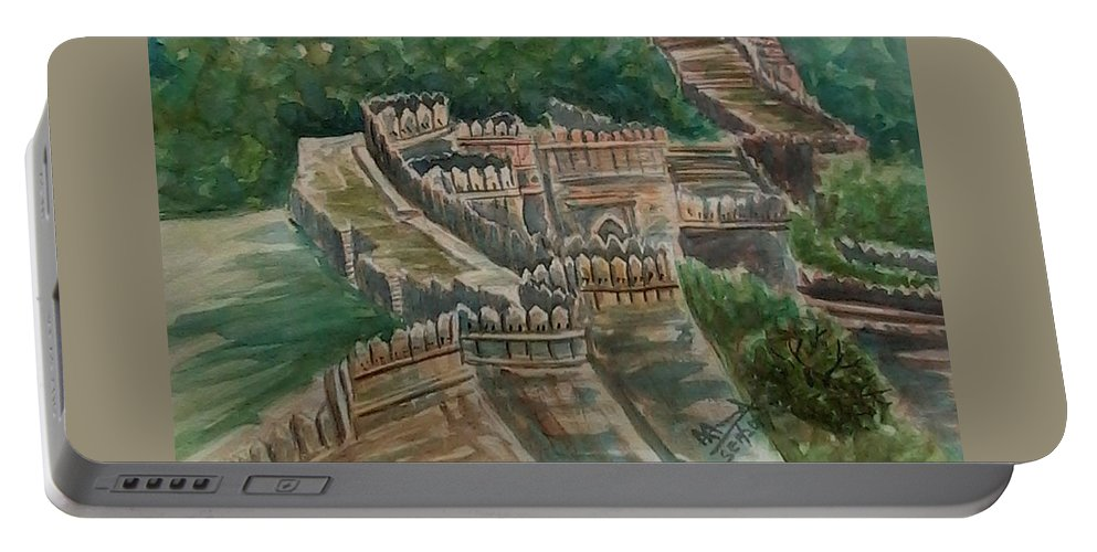 Fort Portable Battery Charger featuring the painting Ancient Fort by Ajay Anand