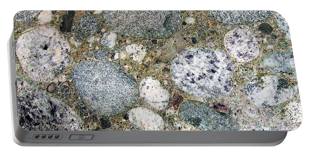 Granite Stones Conglomerate Portable Battery Charger featuring the photograph Ancient Lake Bed by Cat Pancake
