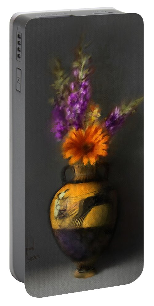 Vase Portable Battery Charger featuring the digital art Ancient Vase And Flowers by Stephen Lucas