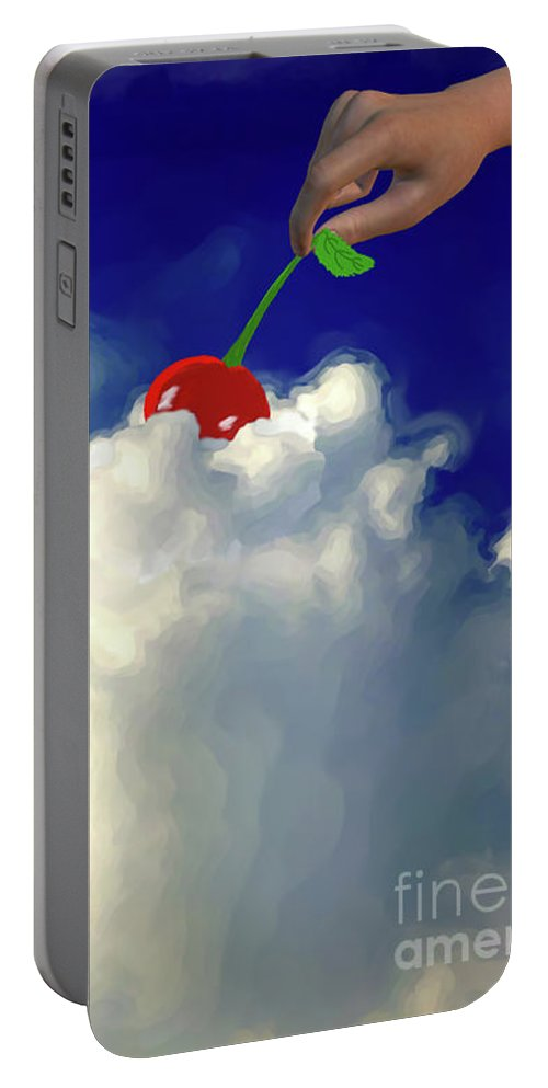 And A Cherry On Top Portable Battery Charger featuring the painting And A Cherry On Top by Methune Hively