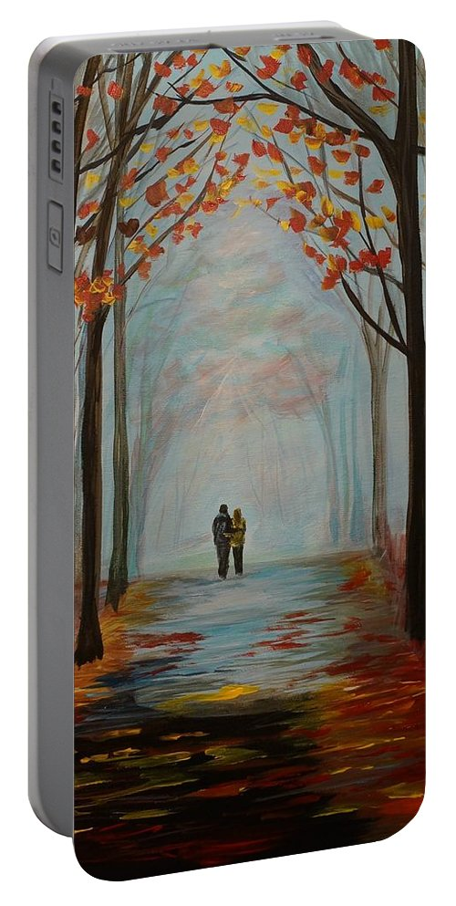 Couple Painting Portable Battery Charger featuring the painting And I Love You So by Leslie Allen