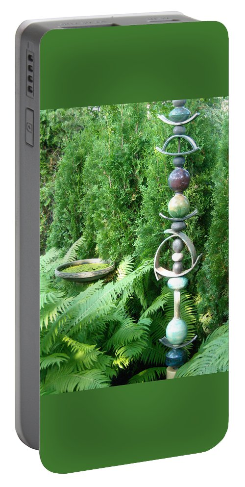 Sculpture Portable Battery Charger featuring the photograph And Sculpture Garden by Line Gagne