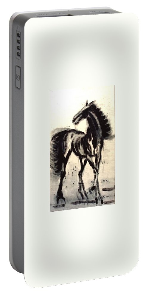 Jarko Portable Battery Charger featuring the painting Andalusian Colt by Jarmo Korhonen aka Jarko
