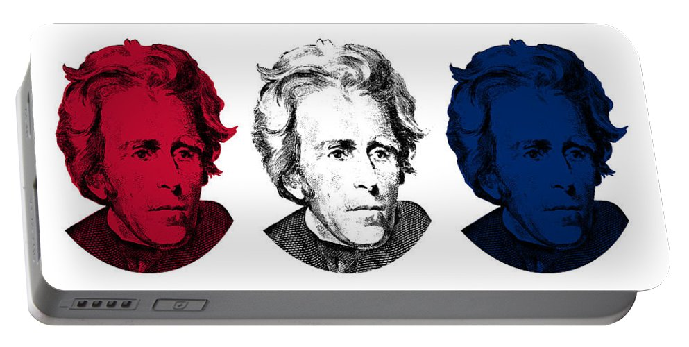 President Jackson Portable Battery Charger featuring the digital art Andrew Jackson Red White And Blue by War Is Hell Store
