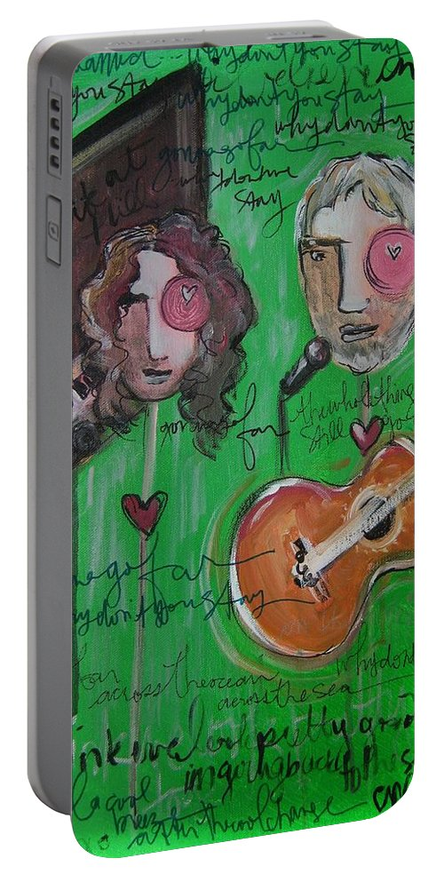 Andy White Portable Battery Charger featuring the painting Andy White At Swallow Hill by Laurie Maves ART