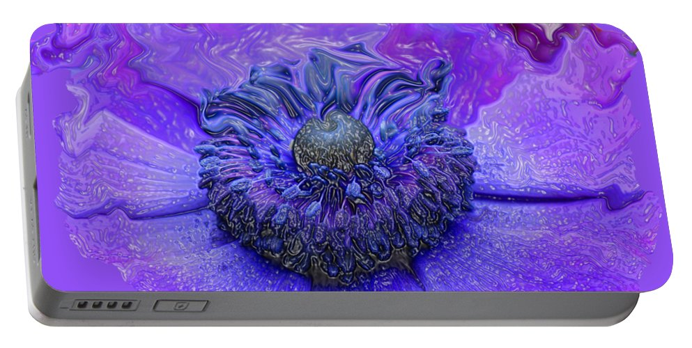 Abstract Flower Portable Battery Charger featuring the photograph Anemone by Kathy Moll