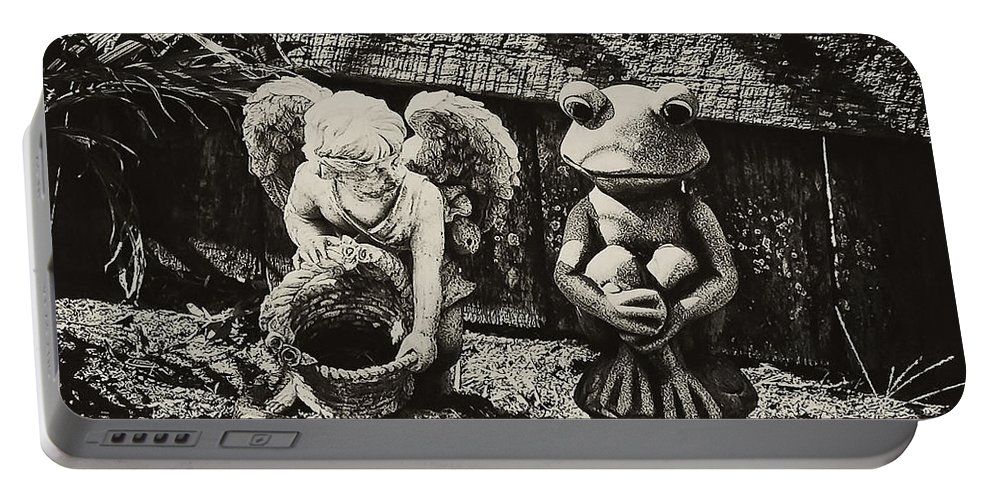 Angel Portable Battery Charger featuring the photograph Angel And Frog by Bill Cannon