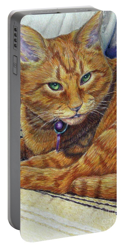 Fuqua Gallery-bev-artwork Portable Battery Charger featuring the drawing Angel by Beverly Fuqua