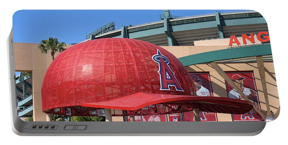 Angel Stadium Portable Battery Charger featuring the photograph Angel Cap by Tommy Anderson