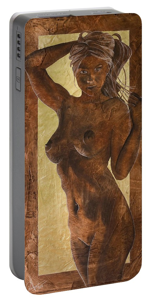 Nude Portable Battery Charger featuring the painting Angel In Gold by Richard Hoedl
