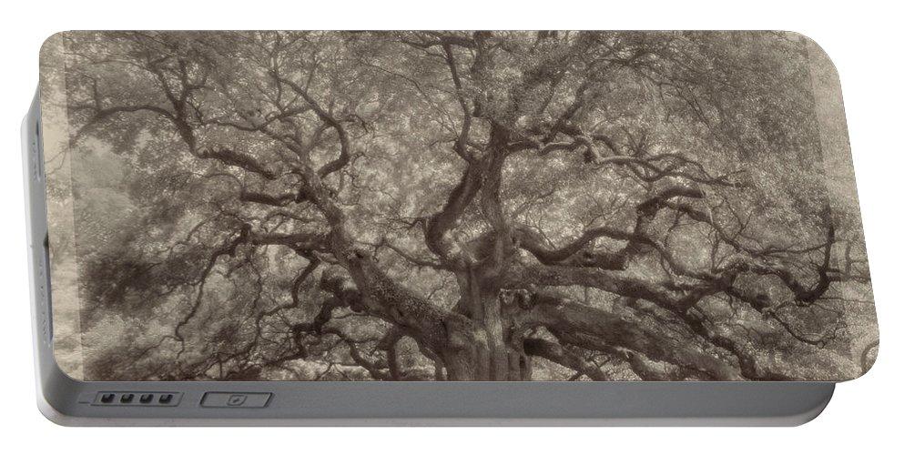 Angel Oak Portable Battery Charger featuring the digital art Angel Oak Tree by Darlene Freas