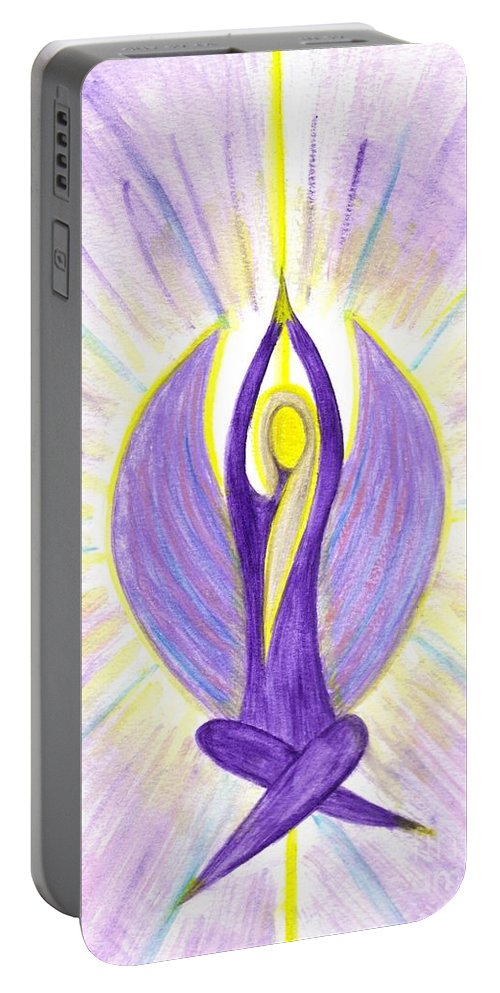 Angel Portable Battery Charger featuring the painting Angel Of Contemplation by Konstadina Sadoriniou
