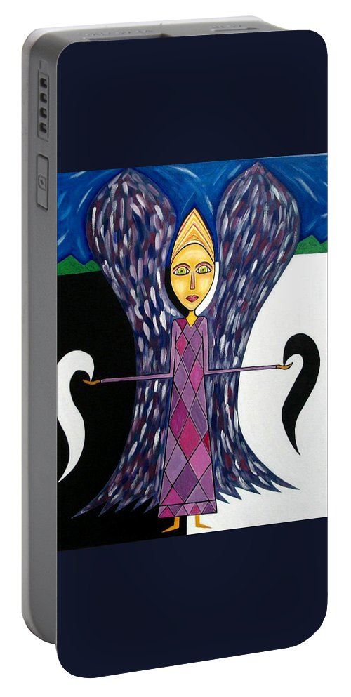 Angel Paintings Portable Battery Charger featuring the painting Angel Of Ying Yang by Sandra Marie Adams