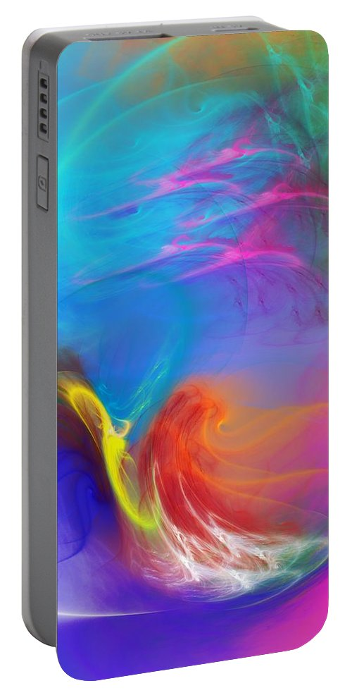 Fine Art Portable Battery Charger featuring the digital art Angel On Lilly Pond by David Lane