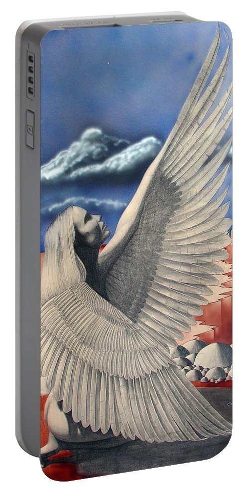 Shaun Portable Battery Charger featuring the painting Angel by Shaun McNicholas