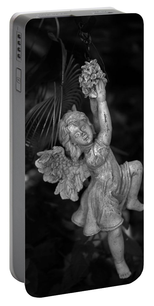 Statue Portable Battery Charger featuring the photograph Angel Statue Hanging On by Kathy Kirkland