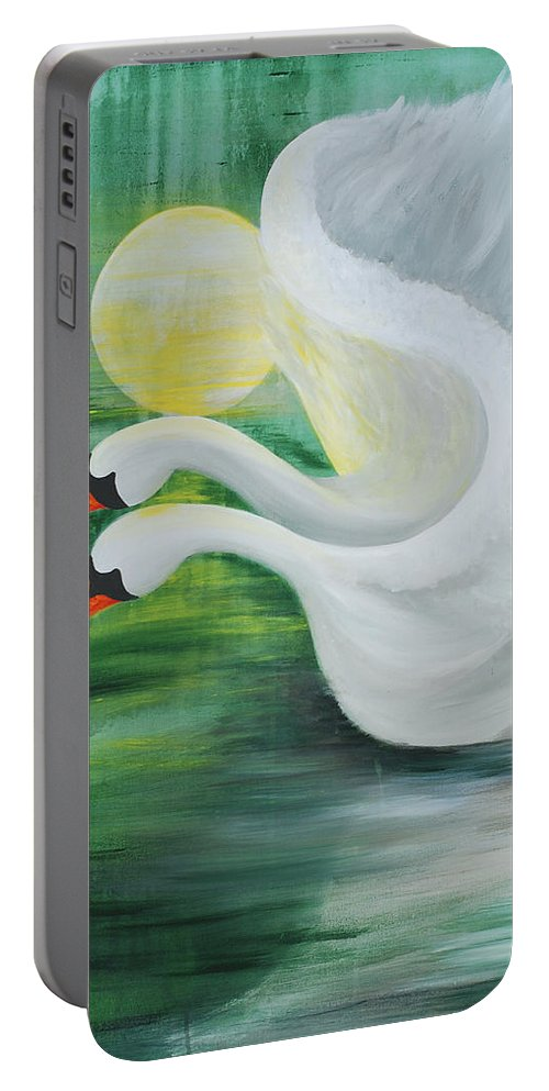Angels Swans Portable Battery Charger featuring the painting Angel Swans by Catt Kyriacou