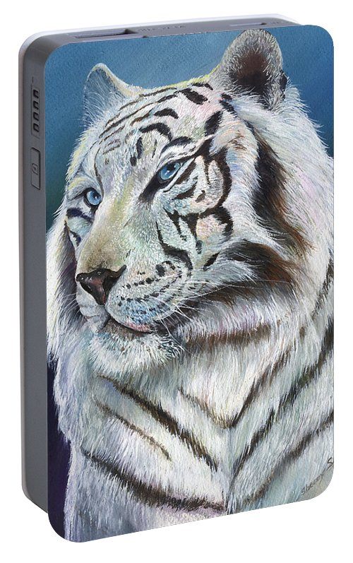 Big Cat Portable Battery Charger featuring the painting Angel The White Tiger by Sherry Shipley