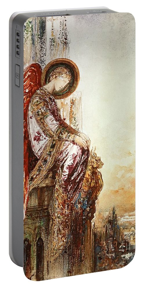 Watercolor Portable Battery Charger featuring the painting Angel Traveller by Gustave Moreau