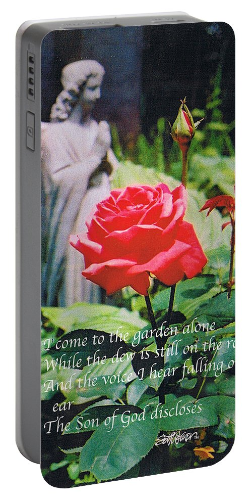 Angel Statute Portable Battery Charger featuring the photograph Angel with Roses 2 by Seth Weaver
