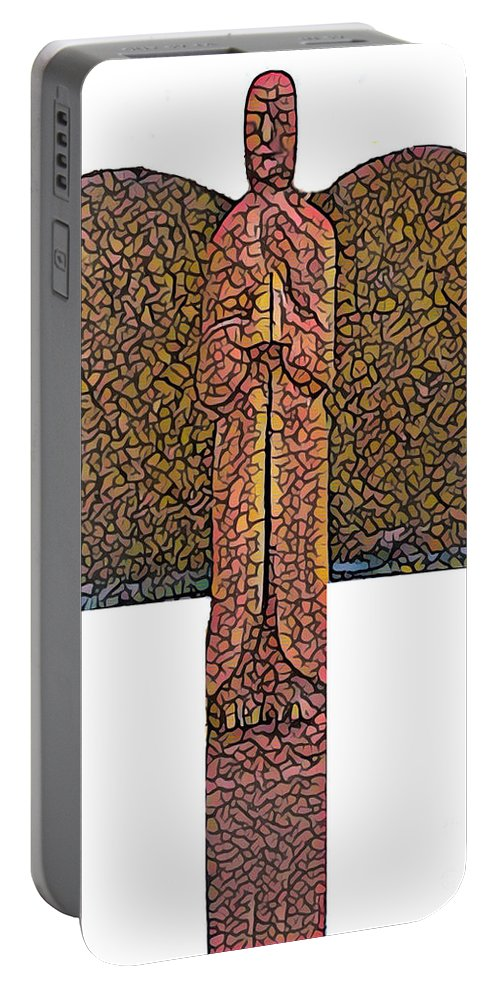 Angel Portable Battery Charger featuring the mixed media Angel002 by John Warren OAKES