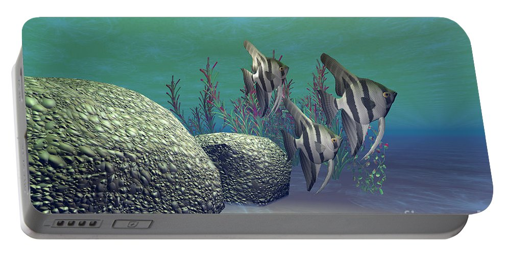 Angelfish Portable Battery Charger featuring the painting Angelfish by Corey Ford