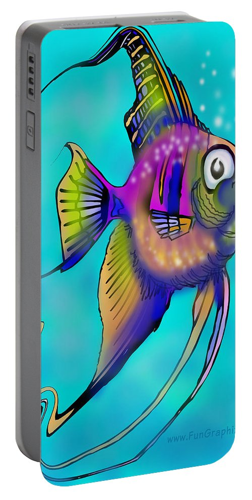 Angelfish Portable Battery Charger featuring the painting Angelfish by Kevin Middleton