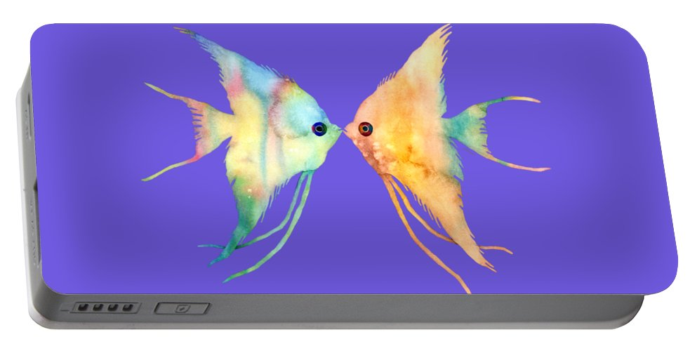 Fish Portable Battery Charger featuring the painting Angelfish Kissing by Hailey E Herrera