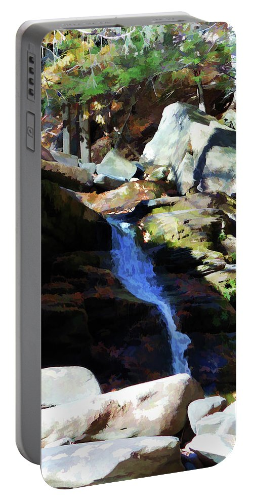 Waterfall And Autumn Leaves Portable Battery Charger featuring the painting Angelic Chorus by Jeelan Clark
