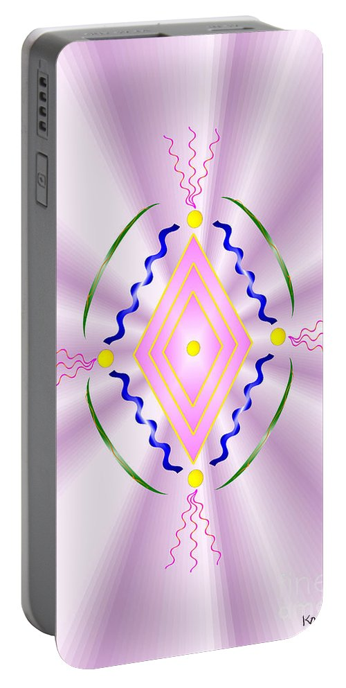 Angel Portable Battery Charger featuring the digital art Angelic Code - Sacred Symbol Of Love by Konstadina Sadoriniou