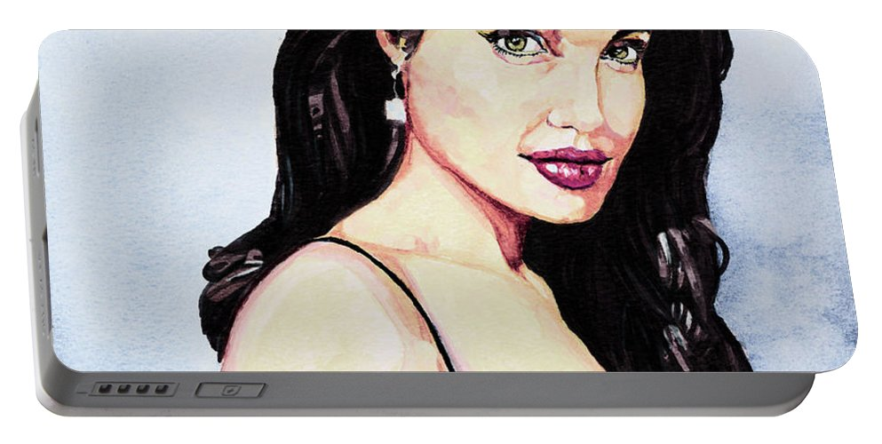Star Portable Battery Charger featuring the painting Angelina Jolie Portrait by Alban Dizdari