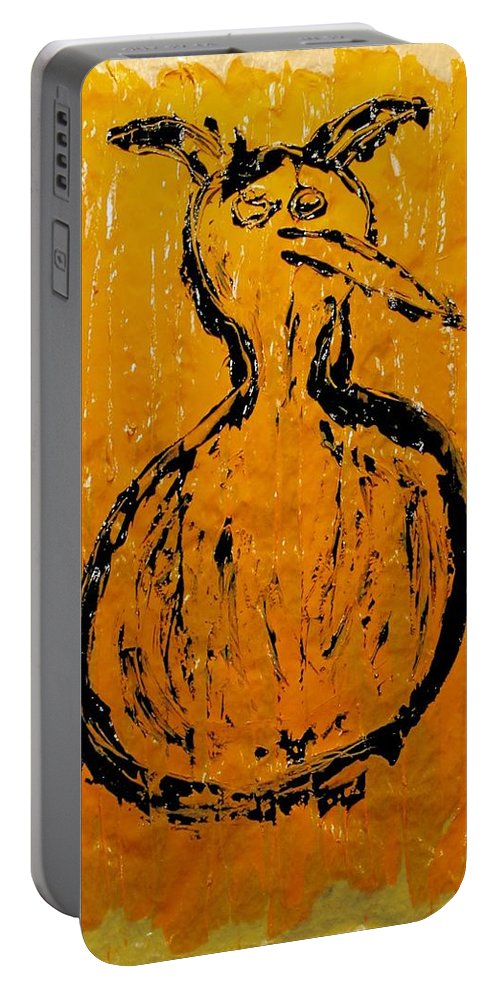 Devils Portable Battery Charger featuring the painting Angels And Devils - Sun Devil by Mario MJ Perron
