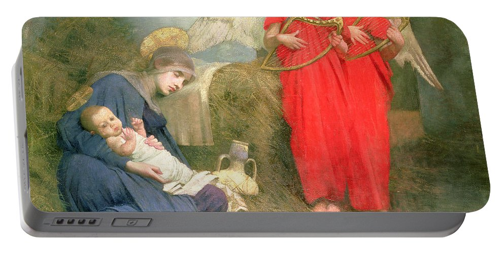 Stable; Lyre; Musical Instrument; Sleeping; Straw Portable Battery Charger featuring the painting Angels Entertaining the Holy Child by Marianne Stokes