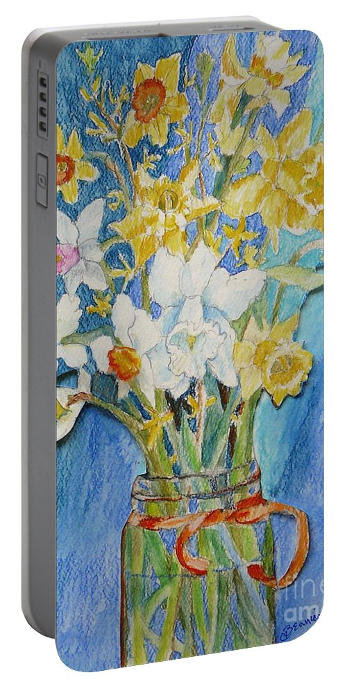 Flowers Portable Battery Charger featuring the painting Angels Flowers by Jan Bennicoff
