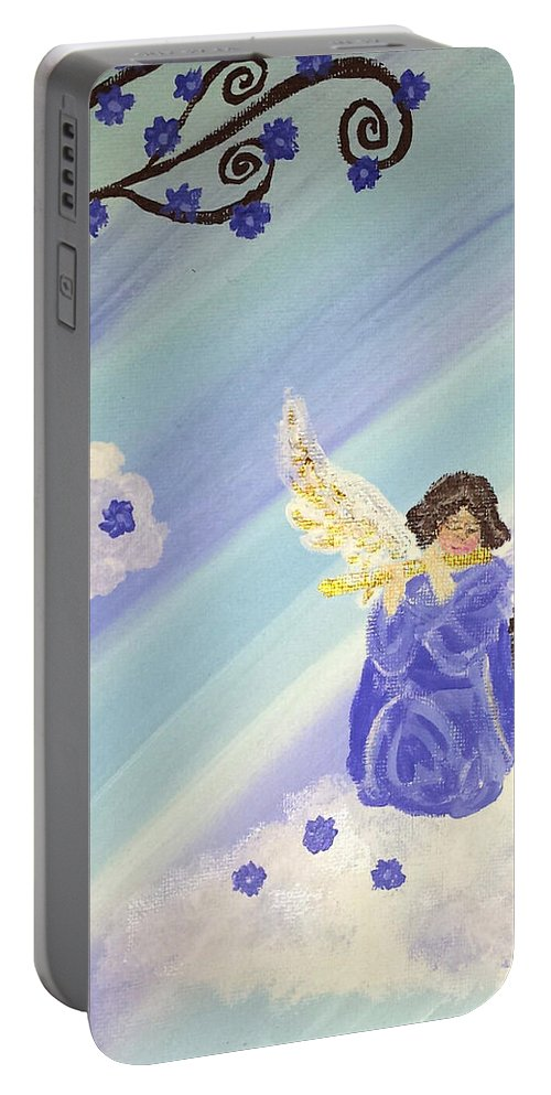 Purple Lilac Flower Tree Angel Robe Cloud Sky Heaven Flute Music Portable Battery Charger featuring the painting Angel's Melody by Deborah Evers