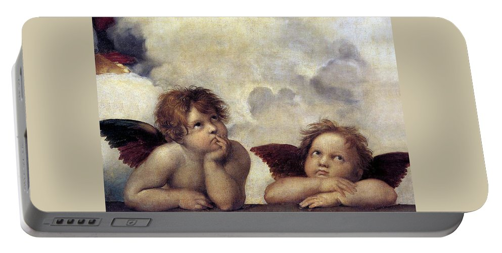 Angels Portable Battery Charger featuring the painting Angels by Munir Alawi