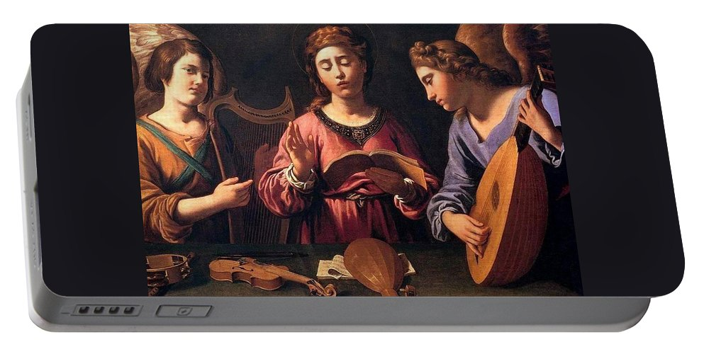 Christmas Portable Battery Charger featuring the painting Angels Singing by Munir Alawi