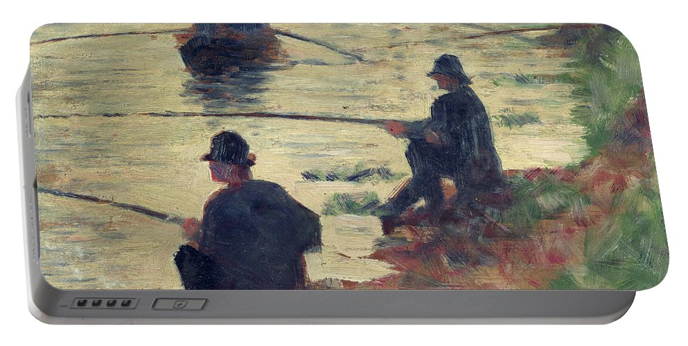 E Seurat (1859-91) Portable Battery Charger featuring the painting Anglers by Georges Pierre Seurat