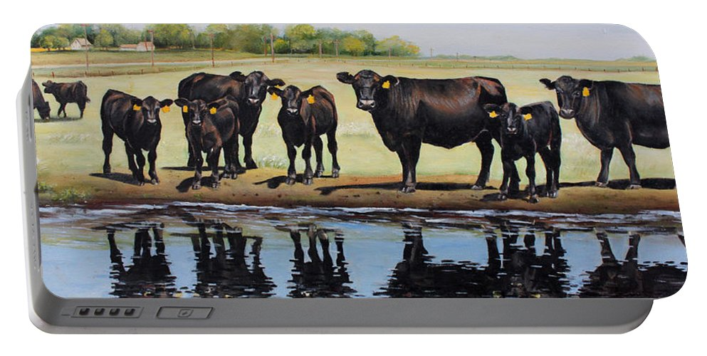 Angus Portable Battery Charger featuring the painting Angus Reflections by Toni Grote